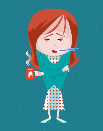 Mädchen mit Fieberthermometer